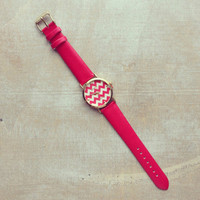 Pree Brulee - Cranberry Pink Chevron Stripes Watch