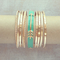 Pree Brulee - Green Mint Arrows Bangle Set
