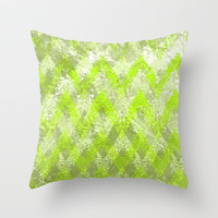 hiding game in green Throw Pillow by Marianna Tankelevich