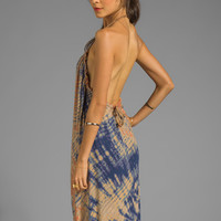 Gypsy 05 La Ba Dee Bamboo Knit Braided Halter Maxi in Navy/Peach from REVOLVEclothing.com