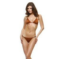 1 Sol Swim Women's Copper Solid Triangle Top Bikini | Overstock.com