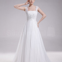 Glamorous A-line Straps Court Train Chiffon Wedding Dress-SinoSpecial.com