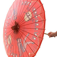 Tattooed Lady Pin-Up Parasol