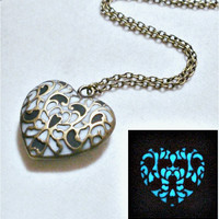 Black And White Glow In The Dark Heart Necklace Pendant Antique Bronze (glows blue)