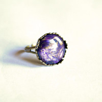 Purple Ring Vintage Style Adjustable Bronze Crown Ring