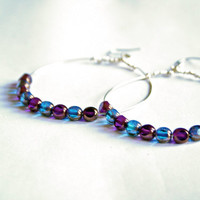 Purple and Blue Beaded Wire Hoop Earrings