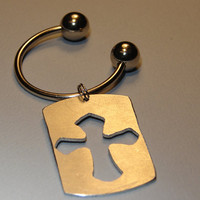 Aluminum Cross Key Chain Handmade and Ready to Personalize