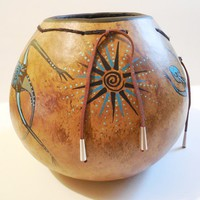 Lizard Tales Painted Gourd Art Bowl with Leather Ties