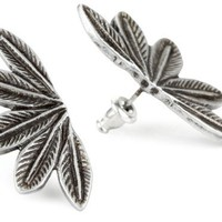 House Of Harlow 1960 Silver Plated Feather Stud Earrings