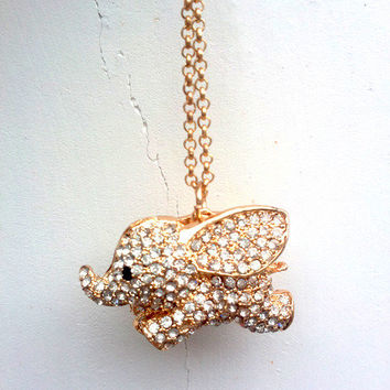 Lovely Rhinestone Flying Elephant Pendant Necklace from Noirlu