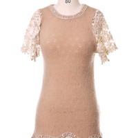 Petal Sleeves Crochet Sequin Dress