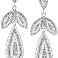 Nina Bridal Maeve Vintage Inspired Crystal Filigree Chandelier Earrings