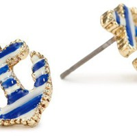 "Betsey Johnson ""Spectator"" Striped Anchor Stud Earrings"