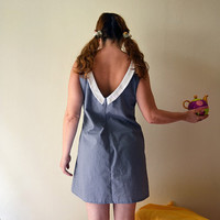 Tiny Polka Dot Dress in Ash Gray, Mini Dress with Peter Pan Collar
