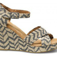 Natural Zebra Zag Strappy Wedges | TOMS.com