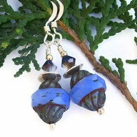Periwinkle Czech Glass Handmade Earrings Swarovski OOAK Unique Jewelry