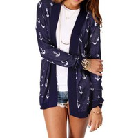 Pre-Order NavyWhite Anchor Print Light Sweater