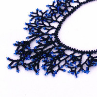 Black Blue Necklace. Beaded Black Blue Jewelry. Handmade.  Beadwork