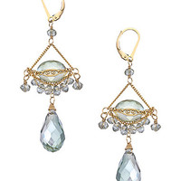 Sophia & Chloe Gold and Mint Green Swarovski Crystal Phoebe Chandelier Earrings - Max & Chloe