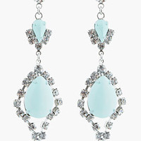 Tom Binns Pastel Mint And White Crystal Madame Dumont Earrings