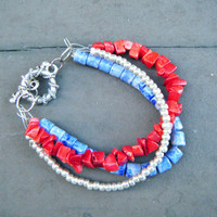 Red, Blue, and Silver Multi-Strand Bracelet