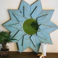 Aqua Turquoise Blue Starburst Mirror by by castawayshall on Etsy