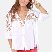 The Blouse Will Play Embroidered White Top