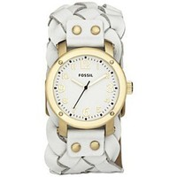 Fossil Woven Leather White Dial Women's watch #JR1291