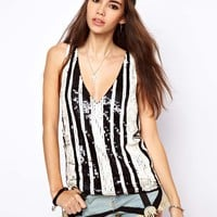 ASOS Vest in Sequin Stripe