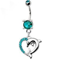 Blue Zircon Cubic Zirconia Heart Dolphin Dangle Belly button Navel Ring