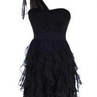 Black Cocktail Dress - One Shoulder Ruffle Dress | UsTrendy