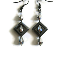 Black Teardrop Earrings, Faceted Glass Beads, Black Hypoallergenic French Ear Hooks