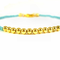 Beaded Friendship Bracelet with Turquoise Seed by JewelleryByJora