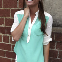 Stud Button Tunic in Emerald | The Rage
