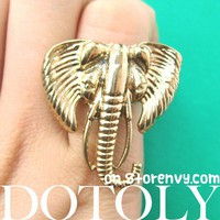 Antique Large Elephant Animal Ring in Gold - Size 7 ONLY