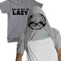 Amazon.com: Sloth Flipover T Shirt ask me why I'm Lazy funny sloth tee: Clothing