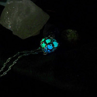 Glowing Heart Cage Locket - White Gold Pendant with 3 Magic Stones - Ocean Blue, Midnight Blue and Neon Green Glow in the Dark Colors