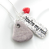 You're my rock fun romantic supportive gift by JanuaryGirlJewelry