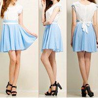 White and Blue Chiffon Dress 052407