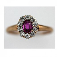 Antique 14 Kt Yellow Gold Synthetic Ruby Old European Diamond Ring | artdecodiamonds - Jewelry on ArtFire