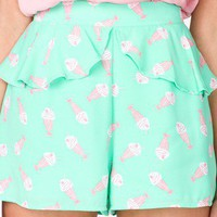 High-Waisted Ice Cream Print Shorts | FOREVER 21 - 2024178870