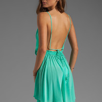 Indah Tahani Waves Silk Crepe Cowl Neck Open Back Short Dress