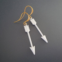 White Arrow Earrings