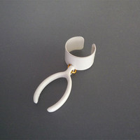 Pure White Wishbone Ear Cuff