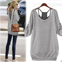 Casual Gray Shirt and Black Tanks