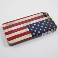 Vintage US American Flag Hard Plastic Case for Iphone 4 &amp; 4S