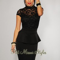Black Lace Top Peplum Dress