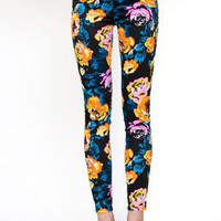 Mink Pink Clothing- Electric Floral Skinny Jeans- $84.99