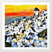 Abstract Santorini, Greece Landscape Art Print by Claudia McBain