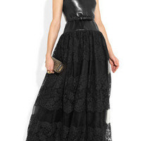 Valentino | Leather, lace and tulle gown | NET-A-PORTER.COM